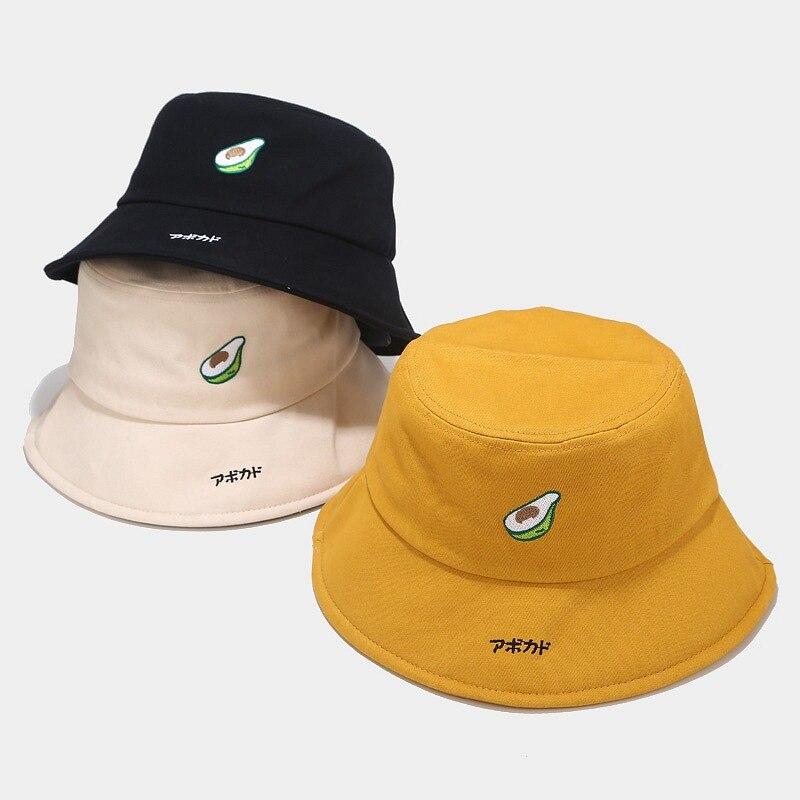 2020 Hat Men And Women New Avocado Fisherman Hat Female Korean Wild Cute Cartoon Basin Caps Japanese Art Student Bucket Hat Caps