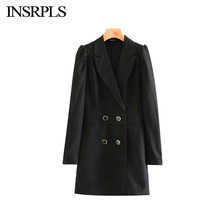 INSRPLS Women Vintage Stylish Office Wear Suits Style Playsuits Women Long Puff Sleeve Buttoned Female Short Jumpsuits Body Muje