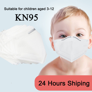 10 Pcs KN95 Children's Fack Masks 4-Ply Filtration Safety Protection Dustproof Haze-Proof PM2.5 3-12 Years Old Kids KN95 Masks