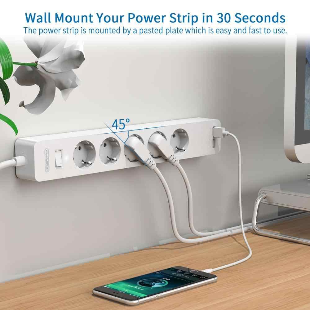 Protecteur de bande d'alimentation USB montée au mur, NTONPOWER avec 3/5 Ports, prise d'extension, 2 USB, prise EU pour filtre réseau domestique
