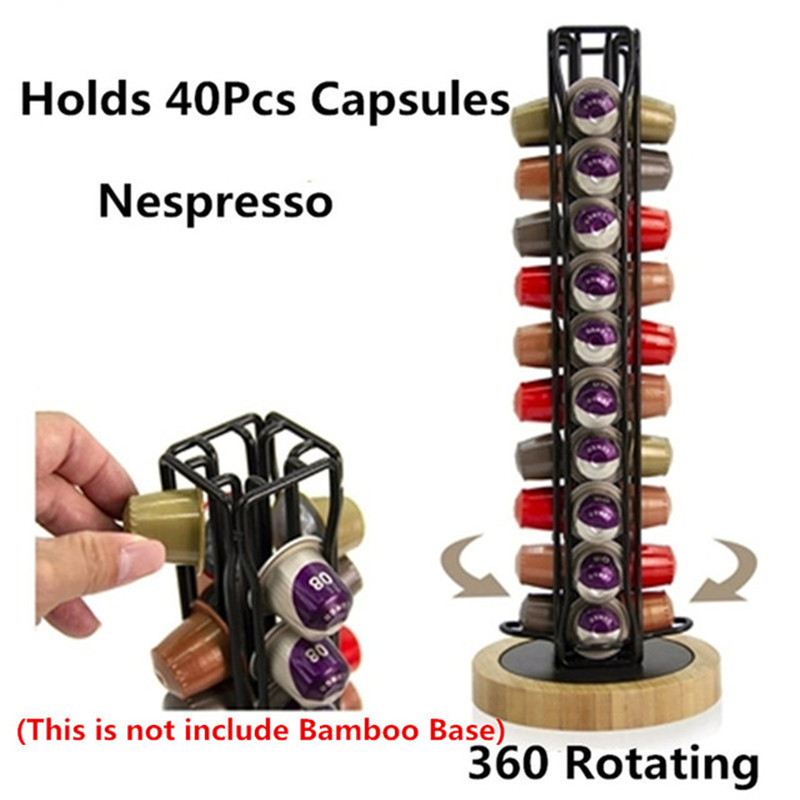 360 Rotating 40 Capsule Coffee Pod Holder Capsules Dispensing Tower Stand Fits For Nespresso Capsule Storage Coffee Stand Holder
