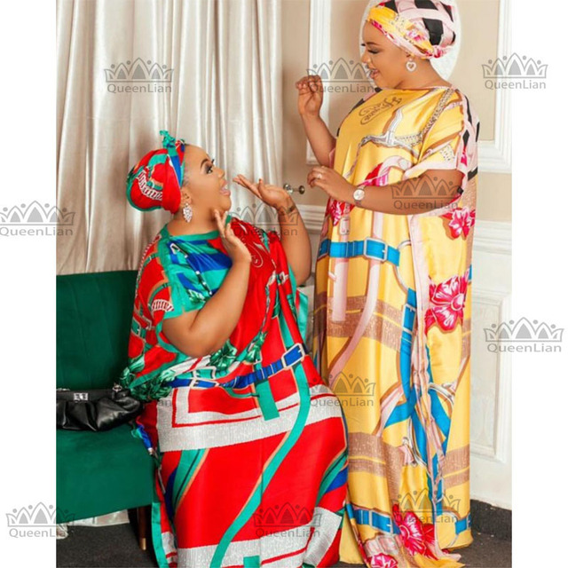 African Dashiki Traditional Party Dress with Scarf For Lady 1