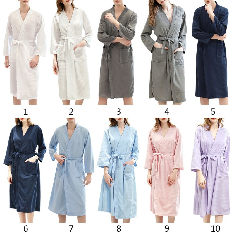 Women Men Autumn Knitted Kimono Bath Robe Unisex V-Neck Belted Waist Water Absorbent SPA Loose Long Sleepwear With Pockets