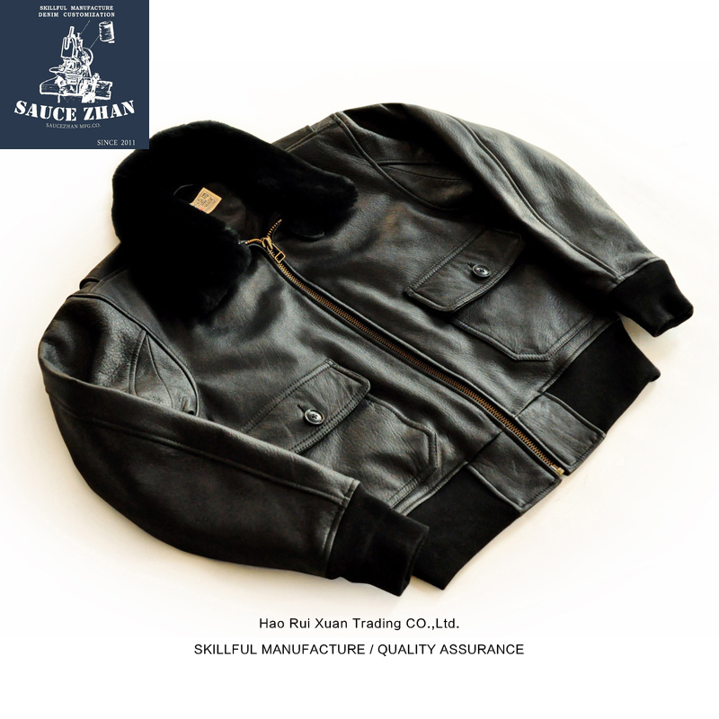 SauceZhan Goatskin G1 LeatherJacket Men's Leather Jacket 2018 New Leather Jacket Hainan Leather Jacket  Mens Mink Coat