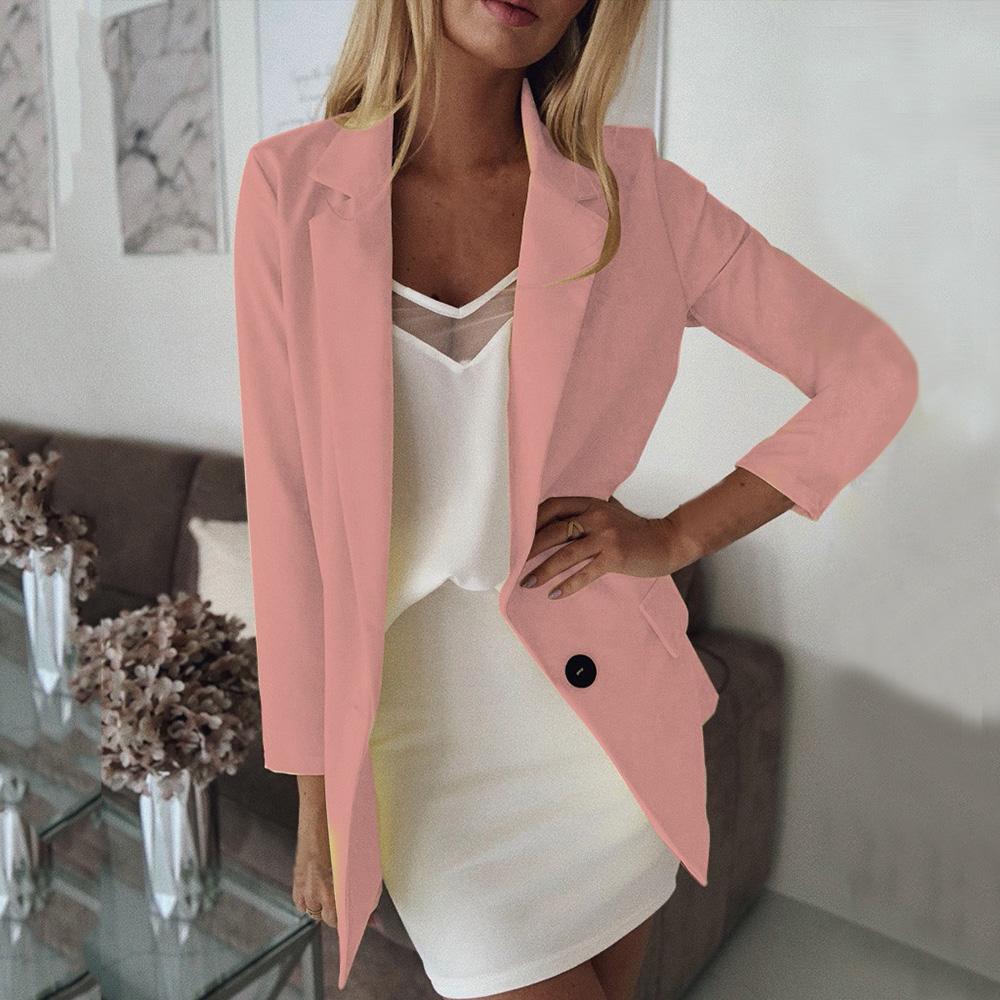 Casual Blazer Women Basic Notched Collar Solid Long Sleeve Blazer With Pockets OL Retro Single Button Suit Jackets Plus Size 5XL
