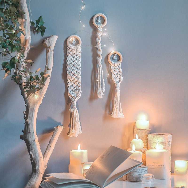Handmade Woven Macrame Wall Hanging Tapestry Decorative Blanket Wedding Background Wall Decoration Home Living Room Decor New/