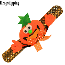 Pumpkin funny evil bracelet Sparkling Bow Arm Warmers Halloween Dance Show kids Pumpkin Bat Sequins Glow Decorative Bracelet #ZJ(China)