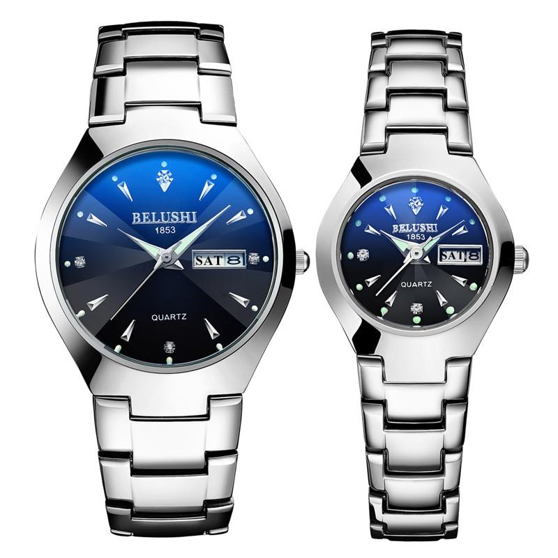 Belushi Couple Watches Top Brand Tungsten Steel Quartz Watch Men Women Bracelet Double Calendar Luminous Wristwatch