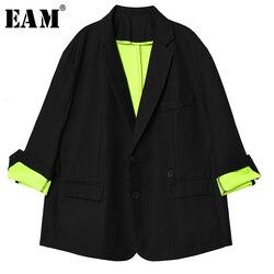 Женская куртка EAM, свободная, большого размера, с длинным рукавом, с отворотом, 2020