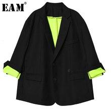 [EAM] Loose Fit Big Size Oversize Hit Color Jacket New Lapel Long Sleeve Women C