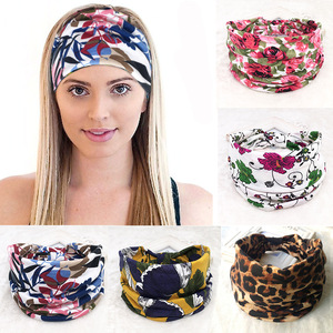 Bohemian Wide Cotton Stretch Women Headbands Autumn Winter Prints Elastic Turban Yoga Run Band Female Hair Accessories