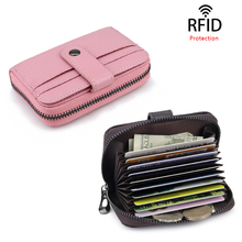 Unisex Mini ID Card Holders Women Business Credit Card Holder Men Genuine Leather Slim Bank Card Case Zipper RFID Purse Wallet rfid 36 card slots genuine leather women card holders large capacity credit card holder wallet female business card holders bag
