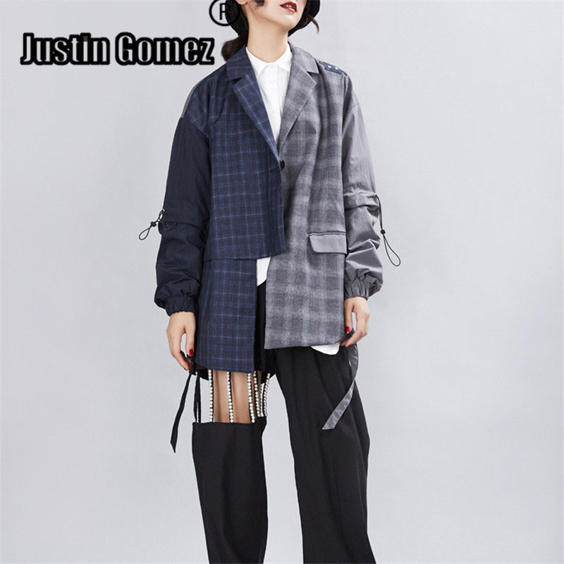 New Retro Irregular Plaid Patchwork Blazer Spring Autumn Chic Cotton Female Casual Cardigan Streetwear Women Blazers And Jackets