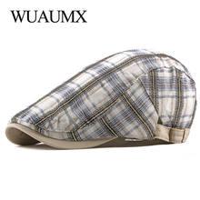 Клетчатый берет wuaumx унисекс шапка для мужчин и женщин летняя