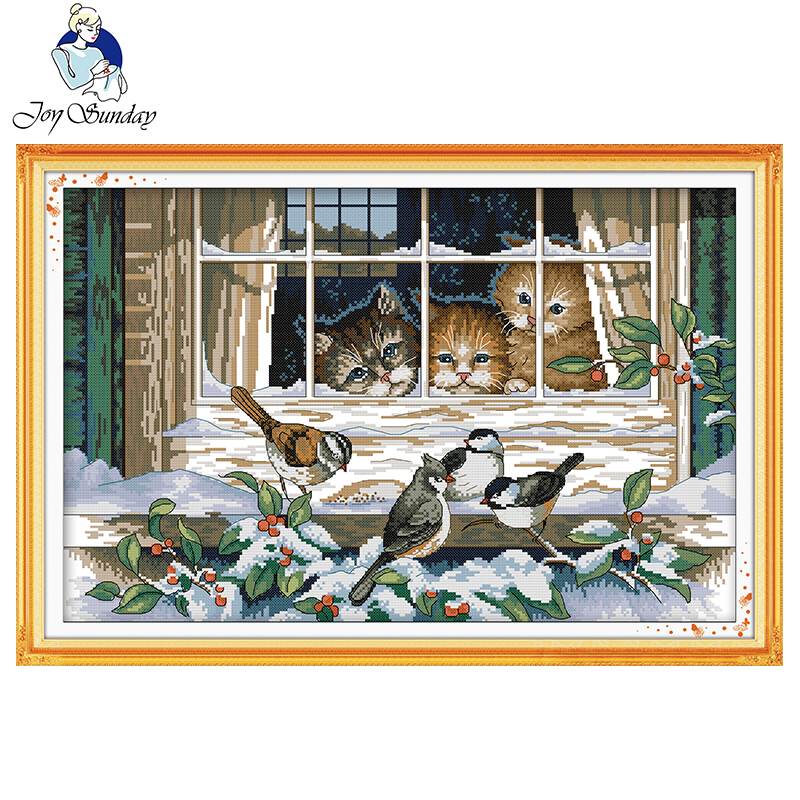Joy Sunday Landscape out of the window DMC 11CT 14CT Cross Stitch Set Handmade DIY Embroidery Needlework Kit For Gift Home Decor