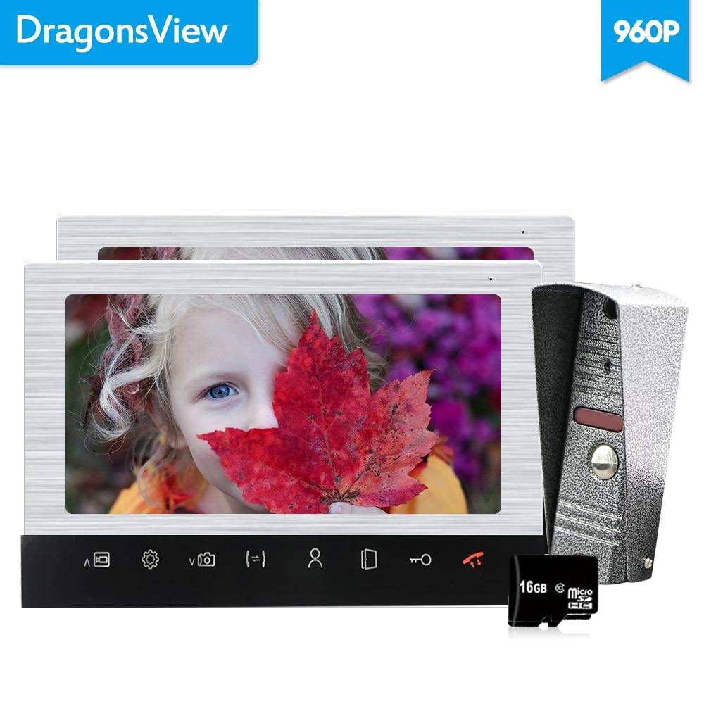 Dragonsview 10 Inch 960P Video Door Phone Doorbell 2 Monitors Wired Video Intercom System Recording SD Card Metal Weatherproof
