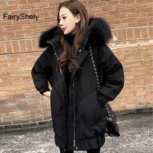 Зимняя женская черная длинная куртка с меховым капюшоном, Повседневная зимняя одежда, женская теплая парка с хлопковой подкладкой и длинным рукавом, пальто для женщин