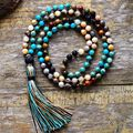 Женское Ожерелье с бусинами 6 мм, ожерелье из натурального камня, лава, рок, кисточка, новое ожерелье в стиле бохо с фрижетом, Прямая поставка