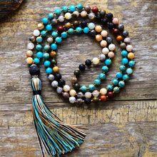 Women Beads Necklace 6MM Natural Stone Lava Rock Tassel Necklace New Boho Lariat Mala Yoga Necklace Dropshipping