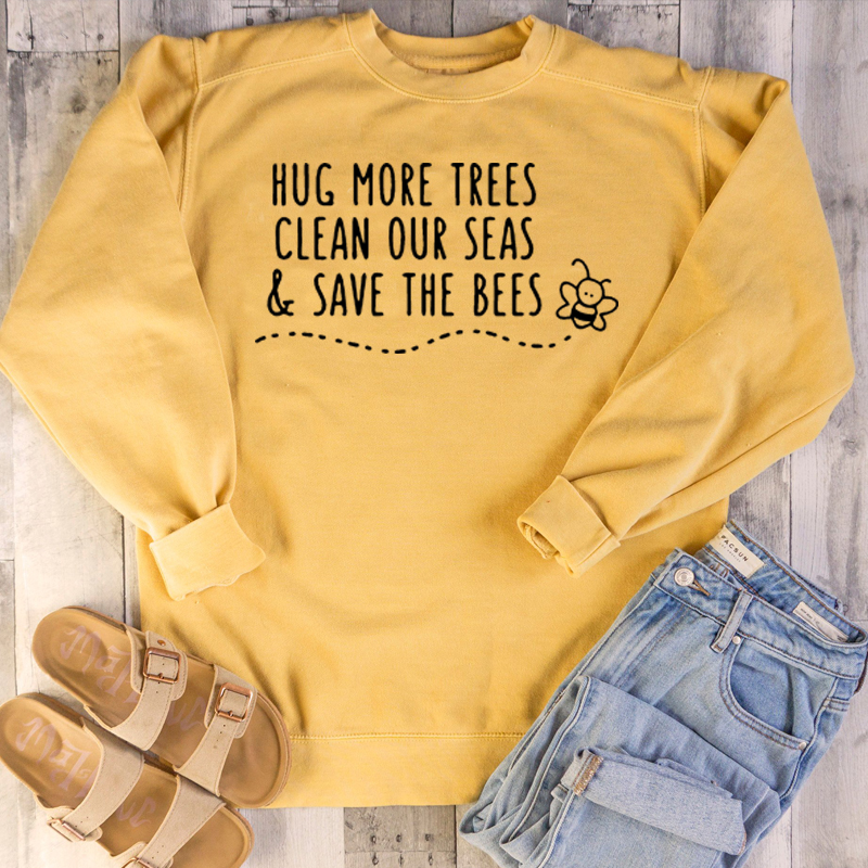 Hug More Trees Clean Our Seas & Save The Bees Womens Hoodies Pullover Oversized Sweatshirt Pink Woman Clothes Be Kind Tops Drop