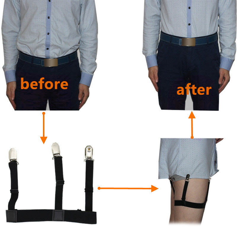 2 Pcs Men Shirt Stays Belt With Non-slip Locking Clips Keep Shirt Tucked Leg Thigh Suspender Garters Strap EIG88