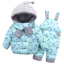 OLEKID 2019 男の赤ちゃんの冬防寒着子供ダウンジャケットオーバーオール雪のスーツ 1 4 歳の子供の女の子コート服セット幼児スーツ