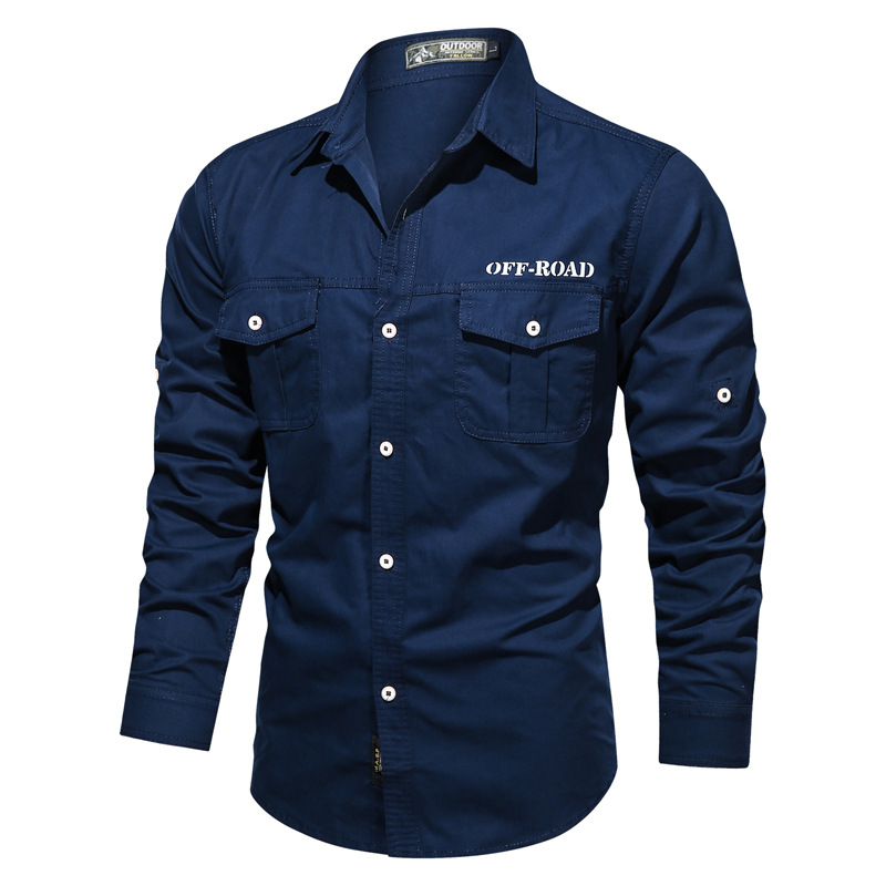 Mens Long Sleeve Plain Casual Shirt Military Style Boutton Up Basic Regular Fit Shirts Tops 1