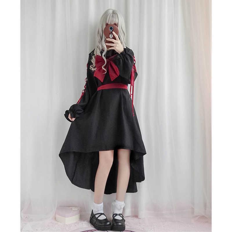 Carino Dolce Lolita Vestito Cosplay Nero Ribboned Anime Principessa OP Buio Bambola Abbigliamento Per Ragazze Kawaii Giapponese di Trasporto libero
