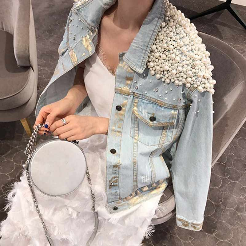 2020 High Quality Luxury Women Denim Jacket Fashion Single Breasted Beads Rhinestone Women Outwear Streetwear Slim Female Jacket