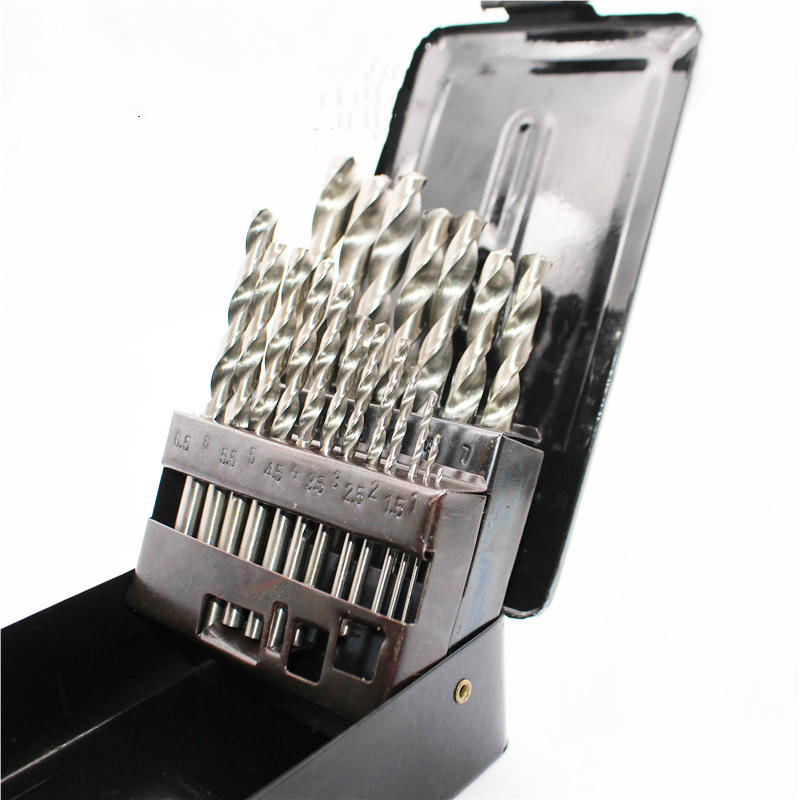 High Quality 19PCS HSS   Twist Bit Small Diameter1.0-10.0mm Set Bit Suit In Iron Box For Machine Tool Type Diameter Twist Drill