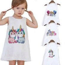 Unicorn Pajamas Kids Bodysuit Clothing One-Piece Children Sleeveless Summer Dress Pullover
