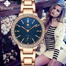 Montre Femme WWOOR Luxury Brand Diamond Rose Gold Ladies Watch Steel Blue Dress