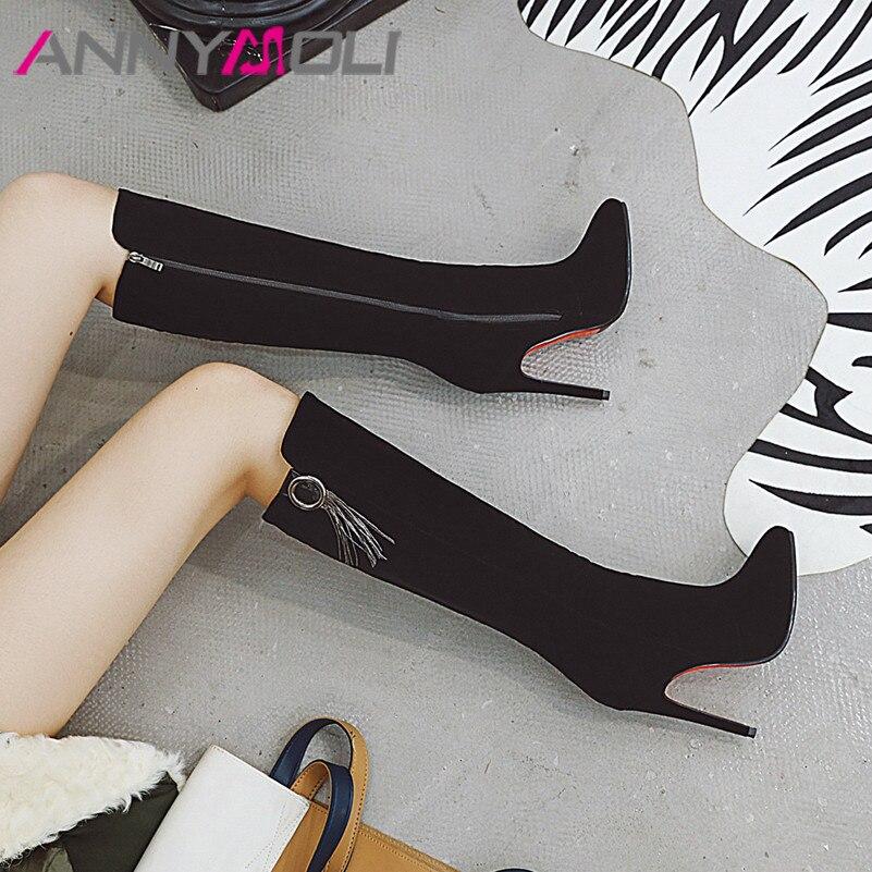 ANNYMOLI Women Boots Winter Knee High Fringe Thin Heel Tall Zip Extreme Shoes Ladies Autumn Big Size 33-43