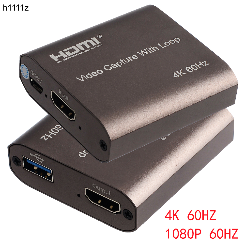 H1111Z 4K 60Hz HDMI Video Capture Card TV Loop 1080P Game Recording Plate Live Streaming Box USB 2.0 3.0 Grabber for PS4 Camera