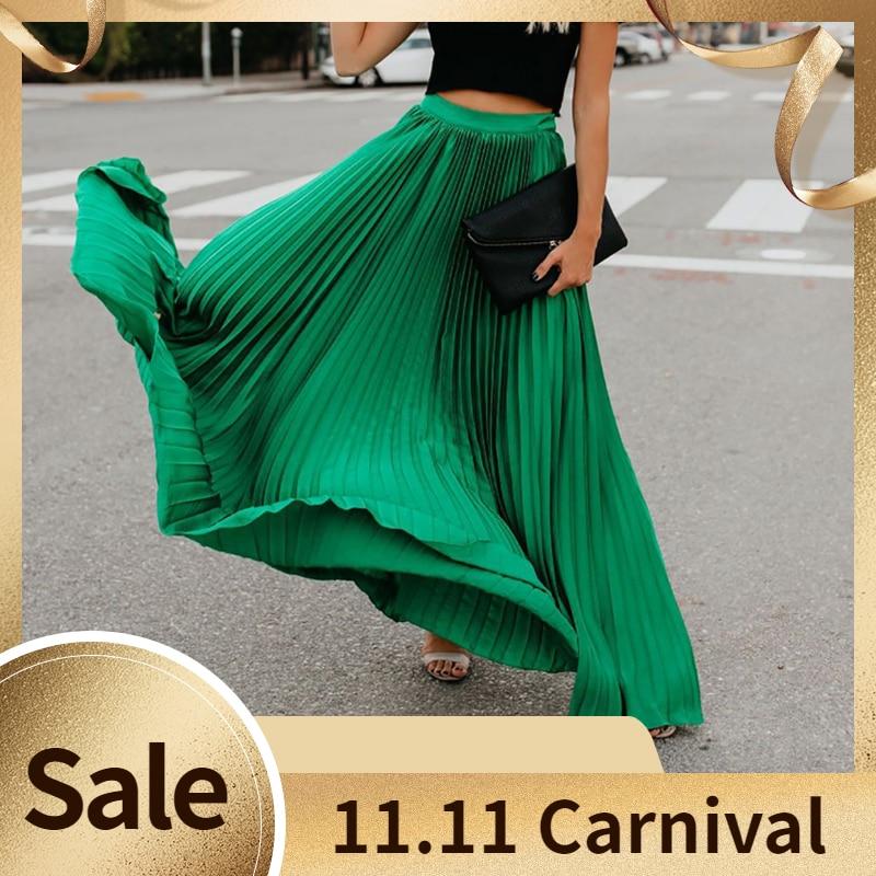 Bohemian Pleated Long Skirt New Lady Loose Soild High Waist Length Skirt All-match Women Ankle-Length Maxi Skirt Plus Size