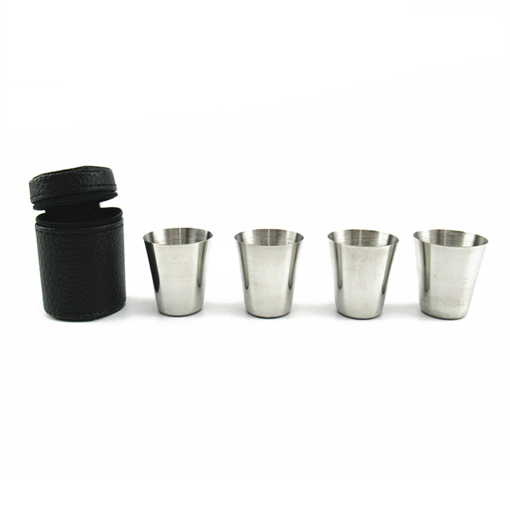 4pcs 스테인레스 스틸 샷 유리 컵 마시는 머그잔 가죽 커버 케이스 야외 새로운