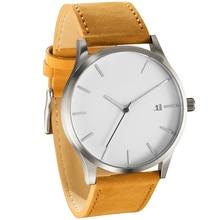 Mens Watches Men Sports Fashion Military Watch No Logo Brown Leather Strap Quartz horloge heren reloj hombre