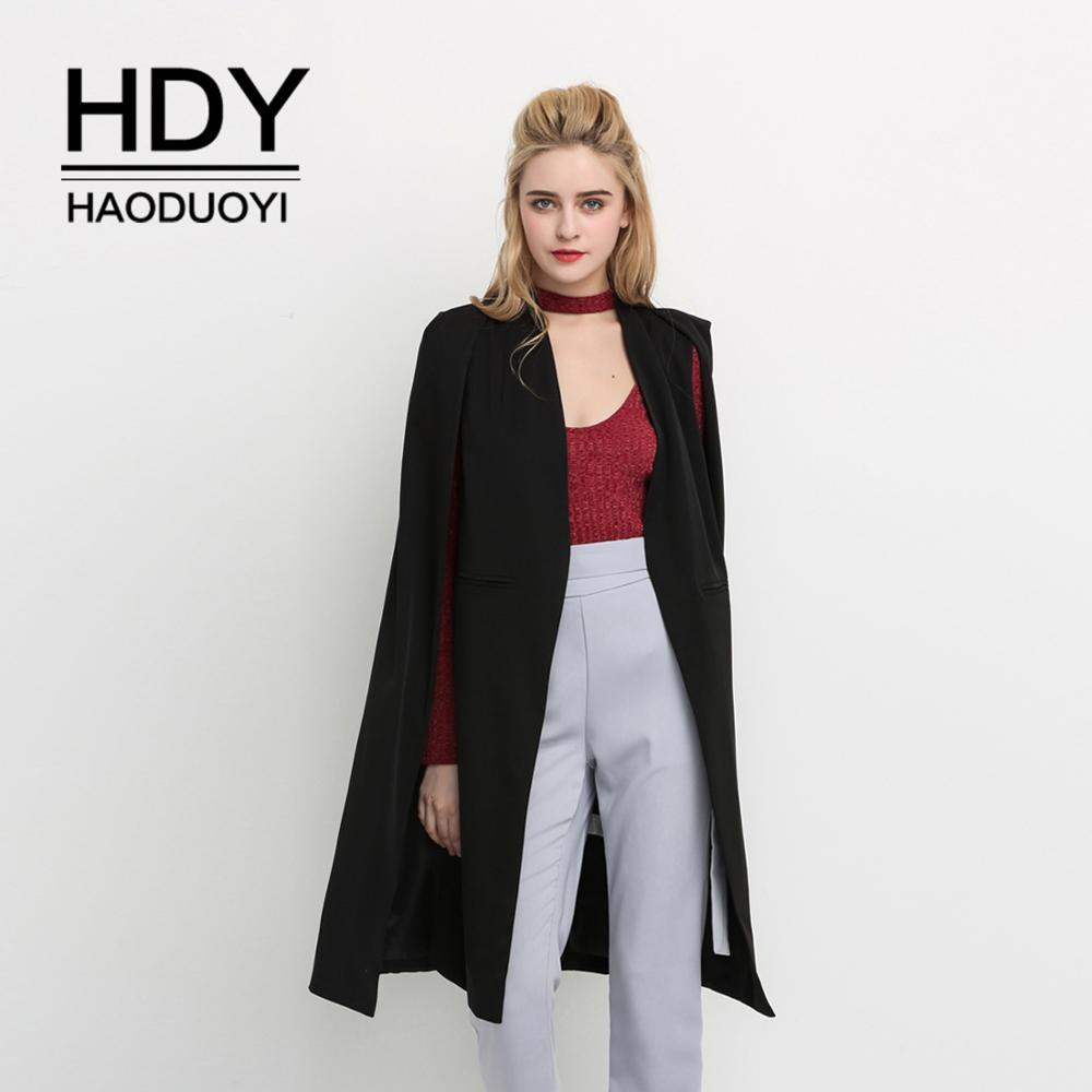 HDY Haoduoyi 2020 Women Casual Open Front Windbreaker Cloak Split Lightweight Trench Coat Longline Cape Party Fasion Blazer