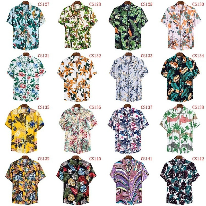FFXZSJ Brand Men'S Hawaiian Summer Shirt 2020 High Quality Cotton Short-sleeved Shirt Lapel Shirt European Plus-size Casual Prin