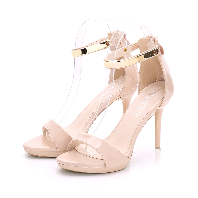 Sexy High Heels Ladies Sandals Suede/pu Leather Women's Shoes Peep-toe Small Round Stiletto Red Black White Plus 44 Dress Summer