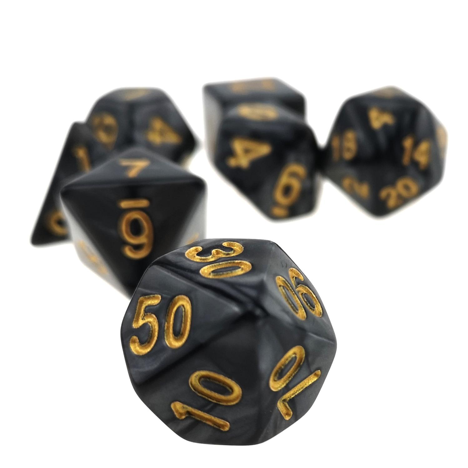 Rollooo Marbled Black Polyhedral Dice Set