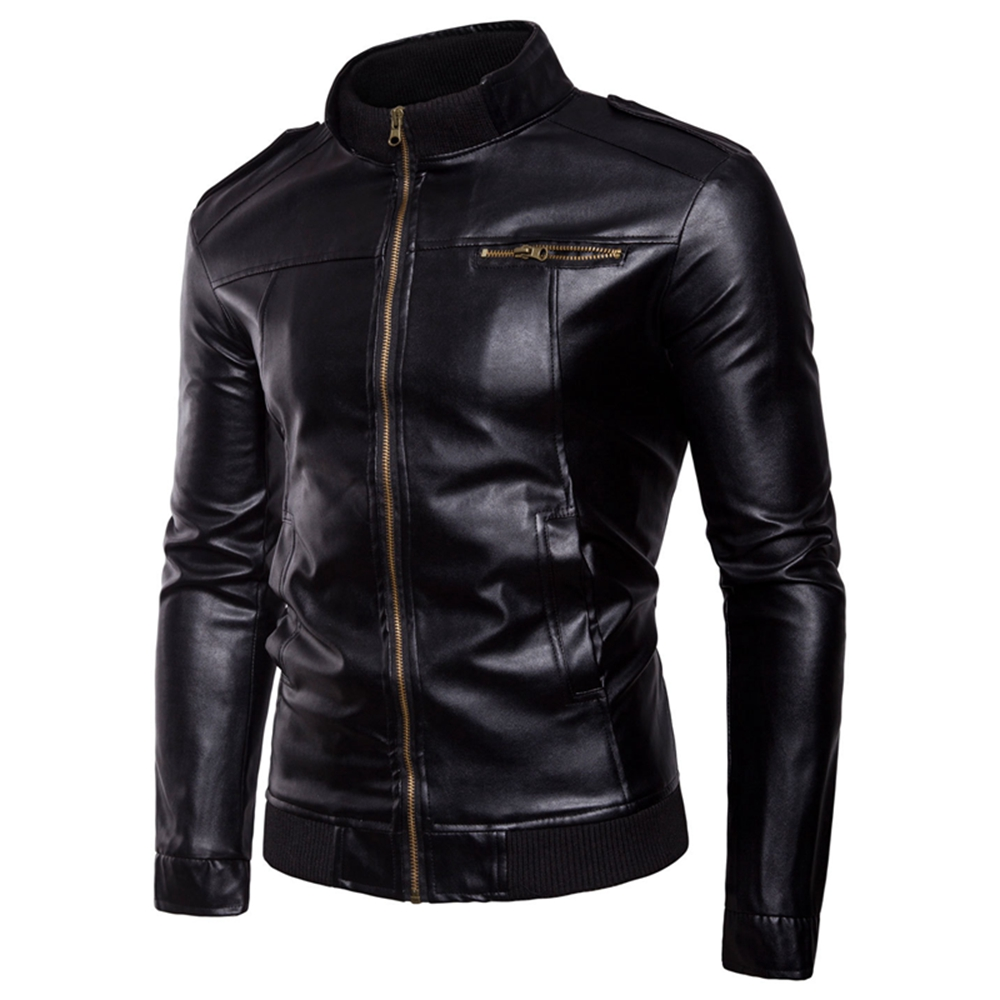 Faux Leather 2020 New Fashion Trend Horizontal Zipper Solid Slim Casual Motorcycle Boutique Full Men's Leather Jacket