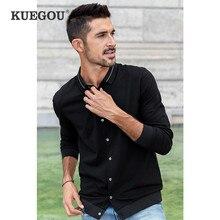 KUEGOU 2020 otoño algodón Botton Cardigan negro Polo camisa hombres moda manga larga Slim Poloshirt masculino Ropa de talla grande 88068