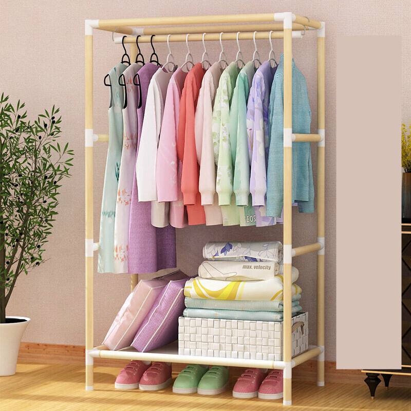 Assembled Solid Wood Simple Wardrobe Clothes Hanging Clothes No Cloth Cover Locker  Pure Wardrobe Frame Mini Type