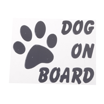 DOG ON BOARD Footprint Reflective Car Window Sticker Decal Decoration image