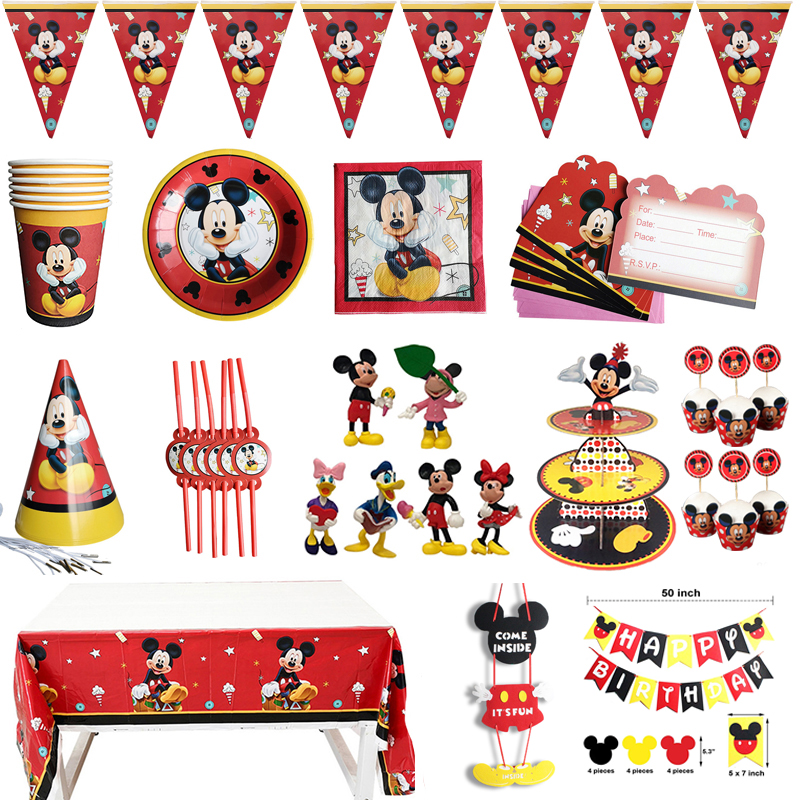 Cartoon Mickey Mouse Birthday Party Decorations Kids Anniversaire Celebration Party Napkins Cup Plate Flag Disposable Tableware