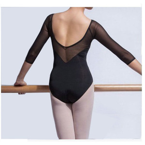 Image 2 - Adult Gymnastics Leotard Black Mesh Ballet Leotards for Women Ballet Dances Long Sleeve Justaucorps Dance Bodysuit