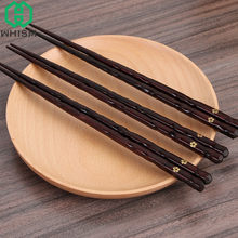 Wiederverwendbare 5 Paar Natürliche Handgemachte Chinesische Holz Stäbchen Nicht-slip Holz Hacken Stick Set mit Geschenk Box Japanischen Sushi essstäbchen