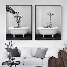 Modern Abstract Animals Are Bathing Art Posters and Prints Canvas Paintings Wall Art Pictures for Living Room Decor (No Frame)