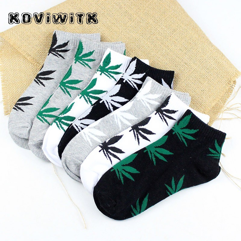 Men Maple Leaf Ankle Socks Hemp Leaves White/black Fashion Funny Short Cotton Sock Spring Summer Weed Skateboard Hip Hop Boy Sox